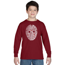 Load image into Gallery viewer, LA Pop Art Boy's Word Art Long Sleeve - Slasher Movie Villians