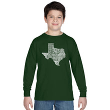 Load image into Gallery viewer, LA Pop Art Boy's Word Art Long Sleeve - The Great State of Texas