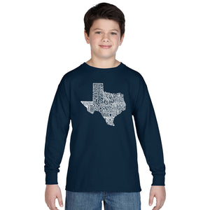 LA Pop Art Boy's Word Art Long Sleeve - The Great State of Texas