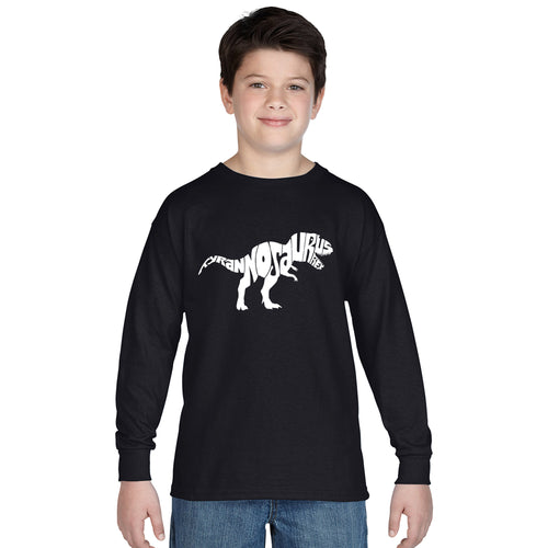 LA Pop Art Boy's Word Art Long Sleeve - TYRANNOSAURUS REX