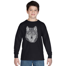 Load image into Gallery viewer, LA Pop Art Boy's Word Art Long Sleeve - Wolf