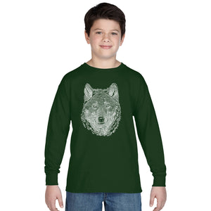 LA Pop Art Boy's Word Art Long Sleeve - Wolf
