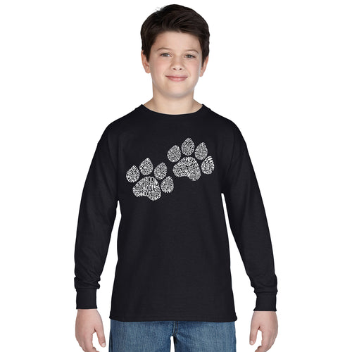 LA Pop Art  Boy's Word Art Long Sleeve - Woof Paw Prints