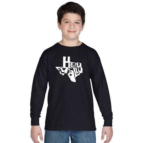 LA Pop Art Boy's Word Art Long Sleeve - Hey Yall