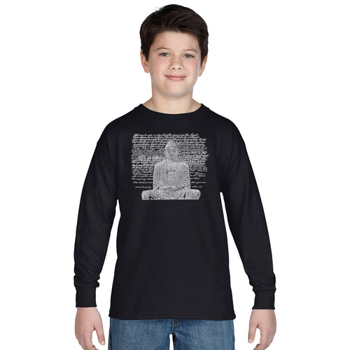 LA Pop Art Boy's Word Art Long Sleeve - Zen Buddha