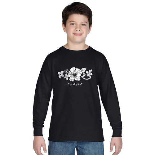 LA Pop Art Boy's Word Art Long Sleeve - ALOHA