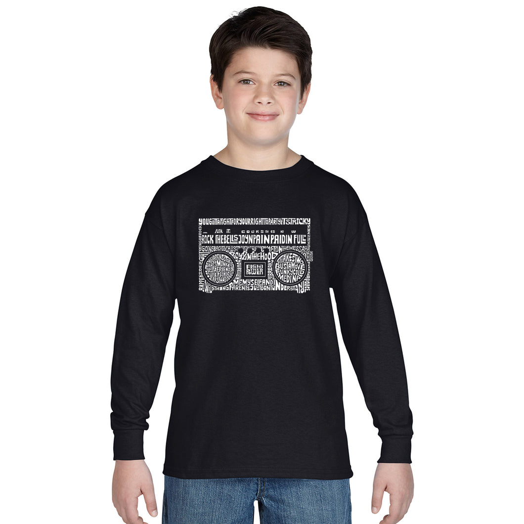 LA Pop Art Boy's Word Art Long Sleeve - Greatest Rap Hits of The 1980's