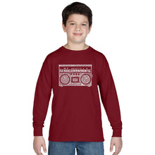 Load image into Gallery viewer, LA Pop Art Boy's Word Art Long Sleeve - Greatest Rap Hits of The 1980's