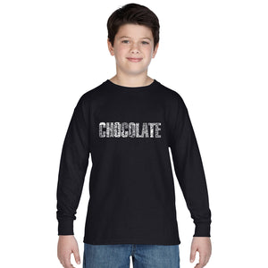 LA Pop Art Boy's Word Art Long Sleeve - Different foods made with chocolate
