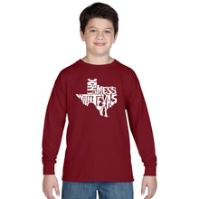 Load image into Gallery viewer, LA Pop Art Boy's Word Art Long Sleeve - DONT MESS WITH TEXAS
