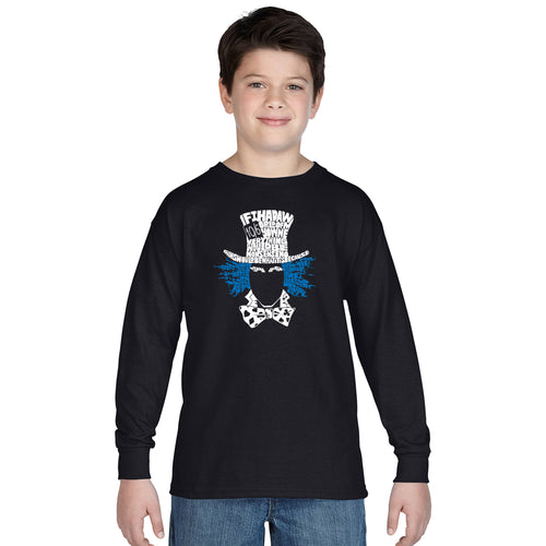 LA Pop Art Boy's Word Art Long Sleeve - The Mad Hatter