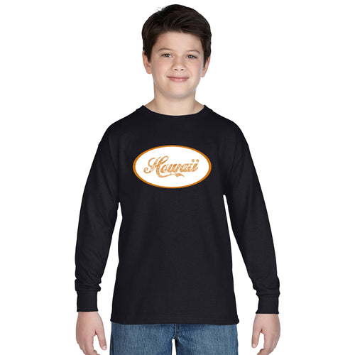 LA Pop Art Boy's Word Art Long Sleeve - HAWAIIAN ISLAND NAMES & IMAGERY