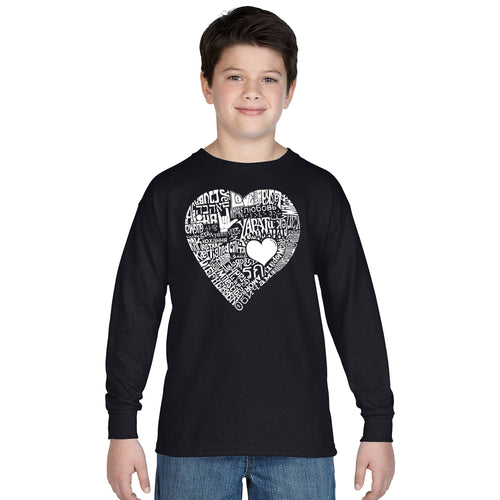 LA Pop Art Boy's Word Art Long Sleeve - LOVE IN 44 DIFFERENT LANGUAGES