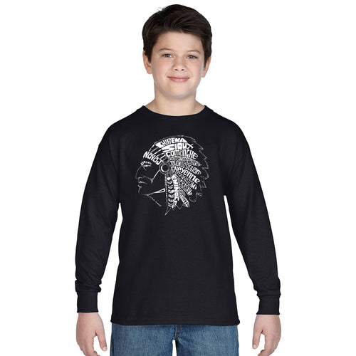 LA Pop Art Boy's Word Art Long Sleeve - POPULAR NATIVE AMERICAN INDIAN TRIBES
