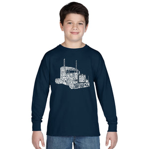 LA Pop Art Boy's Word Art Long Sleeve - KEEP ON TRUCKIN'