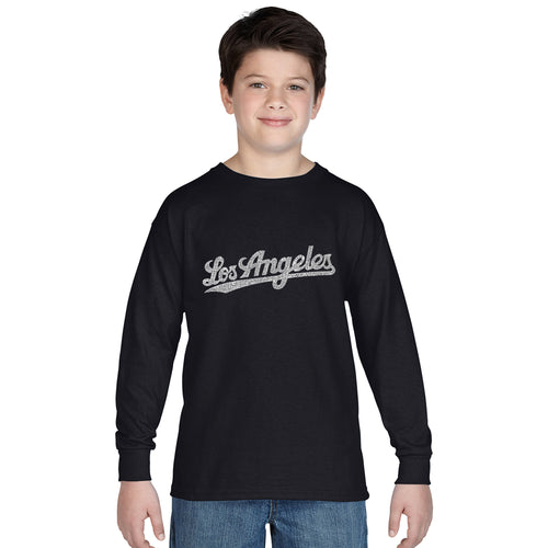 LA Pop Art Boy's Word Art Long Sleeve - LOS ANGELES NEIGHBORHOODS