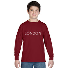 Load image into Gallery viewer, LA Pop Art Boy's Word Art Long Sleeve - LONDON NEIGHBORHOODS