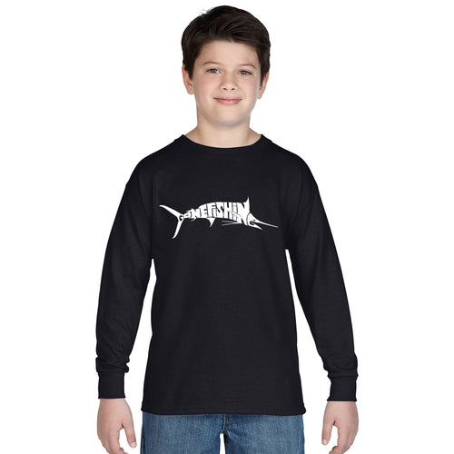 LA Pop Art Boy's Word Art Long Sleeve - Marlin - Gone Fishing