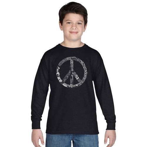 LA Pop Art Boy's Word Art Long Sleeve - PEACE, LOVE, & MUSIC
