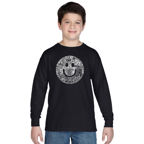 LA Pop Art Boy's Word Art Long Sleeve - SMILE IN DIFFERENT LANGUAGES