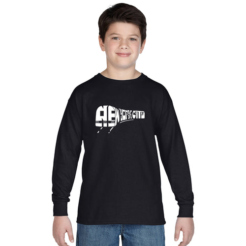LA Pop Art Boy's Word Art Long Sleeve - NY SUBWAY