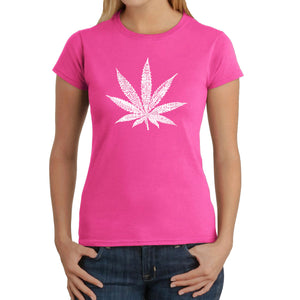 LA Pop Art Women's Word Art T-Shirt - 50 DIFFERENT STREET TERMS FOR MARIJUANA