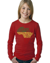 Load image into Gallery viewer, LA Pop Art Girl's Word Art Long Sleeve - Countries in Africa