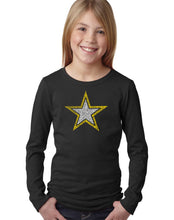 Load image into Gallery viewer, LA Pop Art Girl's Word Art Long Sleeve - LYRICS TO THE ARMY SONG