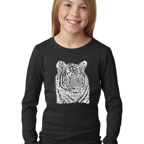 LA Pop Art Girl's Word Art Long Sleeve - Big Cats