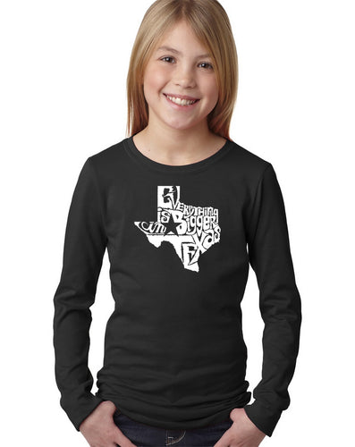 LA Pop Art Girl's Word Art Long Sleeve - Everything is Bigger in Texas