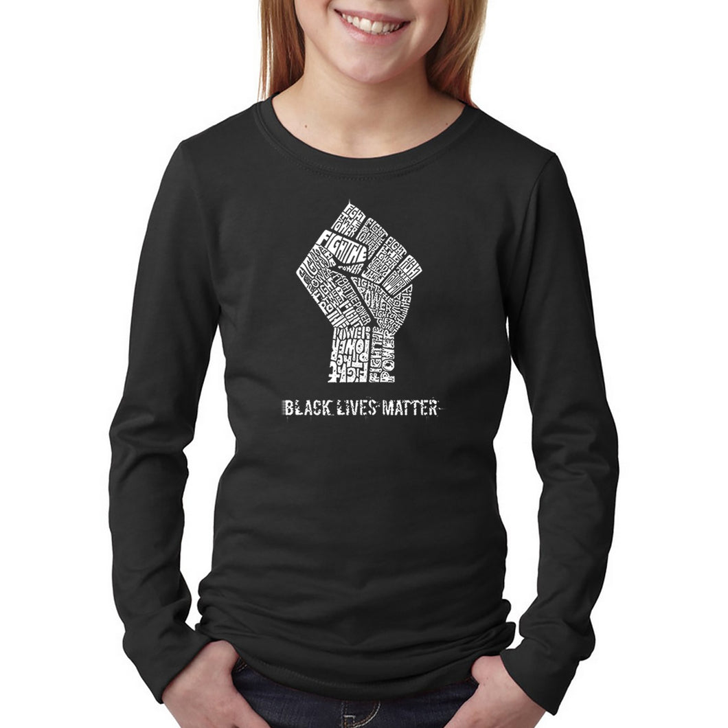 LA Pop Art Girl's Word Art Long Sleeve - Black Lives Matter