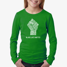 Load image into Gallery viewer, LA Pop Art Girl's Word Art Long Sleeve - Black Lives Matter