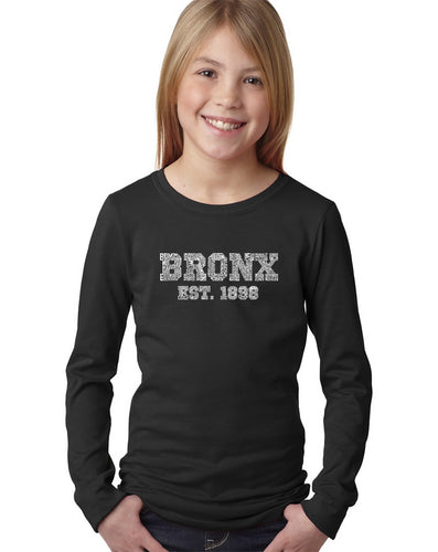 LA Pop Art Girl's Word Art Long Sleeve - POPULAR NEIGHBORHOODS IN BRONX, NY