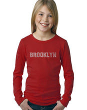 Load image into Gallery viewer, LA Pop Art Girl's Word Art Long Sleeve - BROOKLYN NEIGHBORHOODS