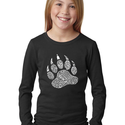 LA Pop Art Girl's Word Art Long Sleeve - Types of Bears