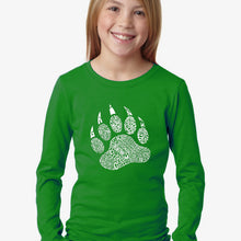 Load image into Gallery viewer, LA Pop Art Girl's Word Art Long Sleeve - Types of Bears