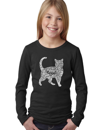 LA Pop Art Girl's Word Art Long Sleeve - Cat