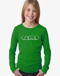 LA Pop Art Girl's Word Art Long Sleeve - DIFFERENT STYLES OF DANCE