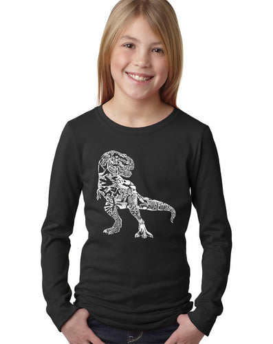 LA Pop Art Girl's Word Art Long Sleeve - Dino Pics