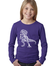 Load image into Gallery viewer, LA Pop Art Girl's Word Art Long Sleeve - Dino Pics