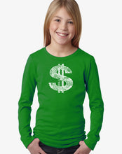 Load image into Gallery viewer, LA Pop Art Girl's Word Art Long Sleeve - Dollar Sign