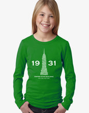 Load image into Gallery viewer, LA Pop Art Girl's Word Art Long Sleeve - Empire State Building
