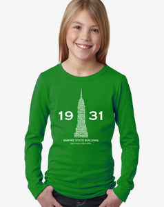 LA Pop Art Girl's Word Art Long Sleeve - Empire State Building