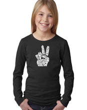 Load image into Gallery viewer, LA Pop Art Girl's Word Art Long Sleeve - PEACE FINGERS