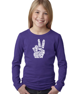LA Pop Art Girl's Word Art Long Sleeve - PEACE FINGERS