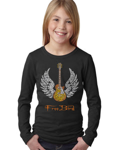 LA Pop Art Girl's Word Art Long Sleeve - LYRICS TO FREE BIRD