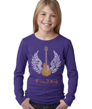 Load image into Gallery viewer, LA Pop Art Girl's Word Art Long Sleeve - LYRICS TO FREE BIRD