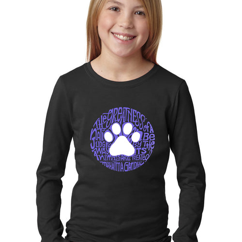 LA Pop Art Girl's Word Art Long Sleeve - Gandhi's Quote on Animal Treatment