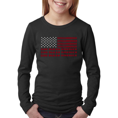 LA Pop Art Girl's Word Art Long Sleeve - God Bless America