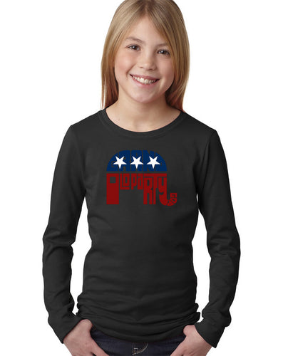 LA Pop Art Girl's Word Art Long Sleeve - REPUBLICAN - GRAND OLD PARTY